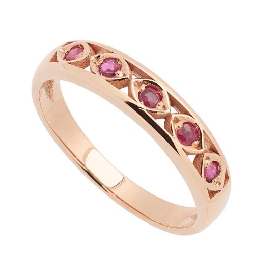 Sortija de oro rosa con rubíes - 1194