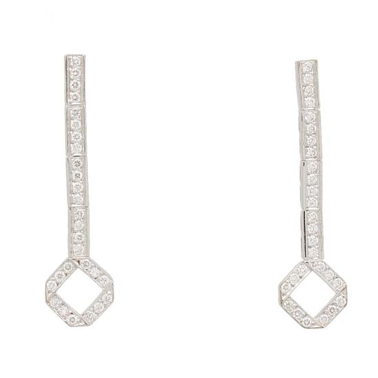 Pendientes largos con diamantes - 1238