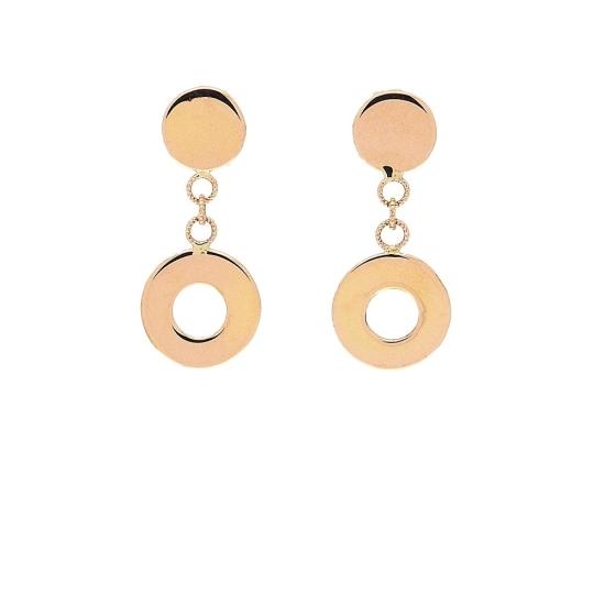 Pendientes de oro rosa y forma circular