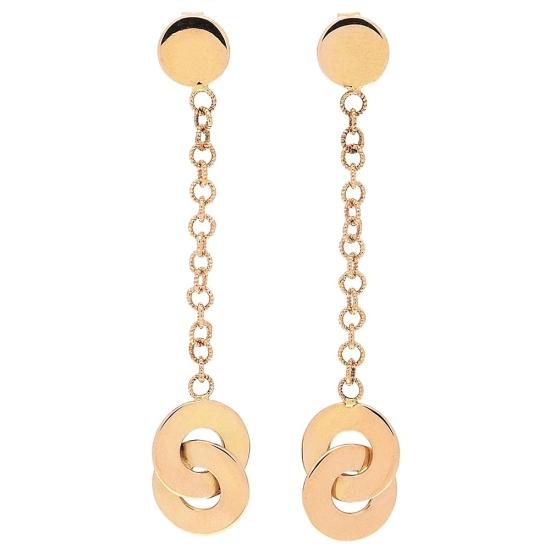Pendientes largos de oro rosa con cadena