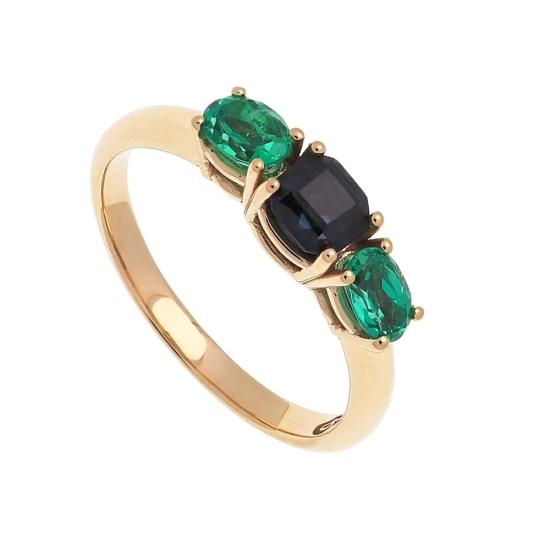 Sortija de oro con esmeraldas y zafiro