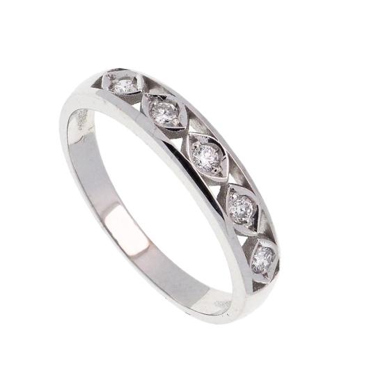 Sortija de oro blanco y cinco diamantes