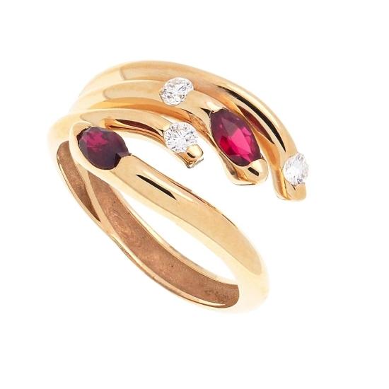 Sortija multibrazo de oro con rubíes...