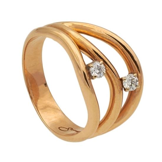 Sotija de oro rosa y dos diamantes
