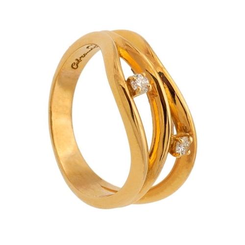 Sotija de oro amarillo y dos diamantes