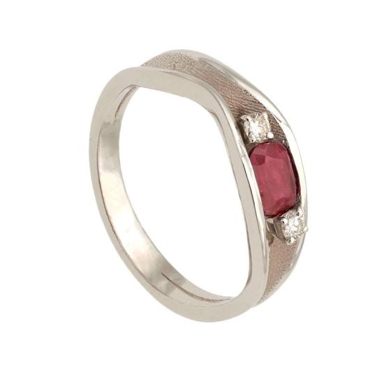 Sortija doble con rubí y diamantes